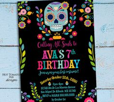 All Souls Welcome! Day of the Dead Birthday Party Invitation with a calavera! For the rest of our Halloween Collection please visit our party decorations link: https://www.etsy.com/shop/Hottomatoink2?ref=seller-platform-mcnav§ion_id=21715708 This listing includes: 1-5x7 Digital