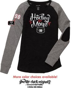 966e3b4c Hockey Mom GLITTER VINYL Tee with or without Custom Name/Number, Hockey Mom  Bling Long Sleeve Tee with Elbow Patch