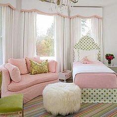 girl's rooms - pink sofa, kidney shaped sofa, pink slipcovered sofa, bay window, valance, kids valance, twin headboard,  Robyn Karp Interiors