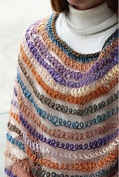 Free Knitting Pattern for Interpretations Poncho - I'm fascinated by the look of this poncho. It's actually easy and the effect of the floating loops of yarn is made by knitting with laceweight yarn alternating with a bulky multi-color yarn. Designed by Laura Cunitz