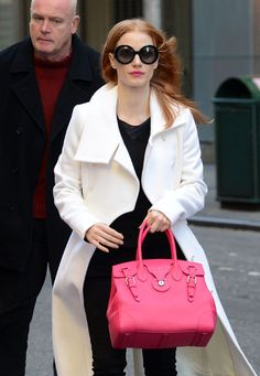 If you want something a tad more timeless, Jessica's bright red Ralph Lauren Ricky Tote will probably satisfy you