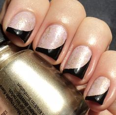 Base China Glaze Sweet Hook saran sponged with China Glaze 2030 and tips and sides with Essence Black Is Back.