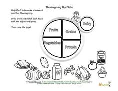 holidays 11 kids my plate and thanksgiving food matching and coloring page