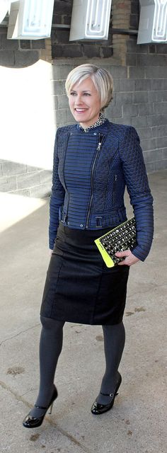 blue hue wonderland--over forty blogger--over 40 fashion--over 50 fashion-muture fashion--mature style--BCBG jacket--neon yellow bag