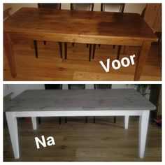 Prachtige metamorfose met krijtverf en verouderingsbeits. Upcycled Furniture, Diy Furniture, Old Coffee Tables, Furniture Makeover, Dining Bench, Interior Decorating, Sweet Home, Living Room, Annie Sloan