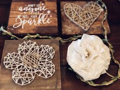 String and nail, wood, stencils and coffee filter flowers ... how could it not be awesome?