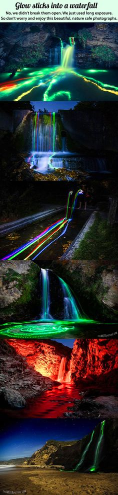 What Happens When You Mix Glowsticks with a Waterfall and Long Exposure Photography