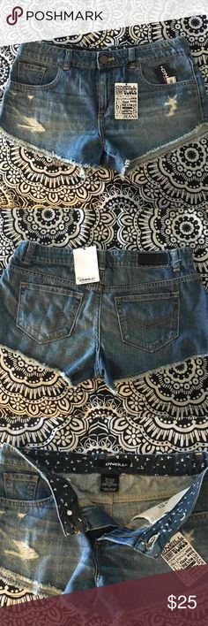 O'Neill Surf Denim Shorts Brand new. Fringe bottom. Distressed look. 10 inch rise (higher-waisted). O'Neill Shorts Jean Shorts