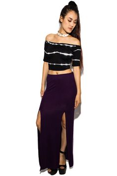 08439d87aa Nix Double Split Maxi Skirt In Purple Midi Skater Skirt, Maxi Skirts, Two  Piece