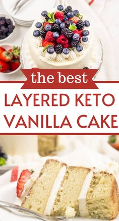 Don't worry about overloading on sugar for a special occasion. This 3 layer low carb Keto Vanilla Cake will satisfy any craving. Round Cake Pans, Round Cakes, Vanilla Buttercream Frosting, Vanilla Cake, Best Cake Recipes, Beef Recipes, Homemade White Cakes, Low Carb Flour, Low Carb Sweeteners