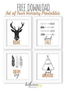 Tribal Theme | Set of Four Nursery Prints | FREE Download  | Modern nursery #friebies #printables #bursery #modernnursery