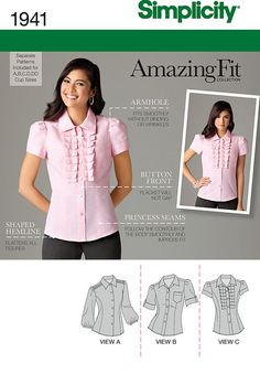 """misses' amazing fit blouse sewing pattern with front variations and individual pattern pieces for a, b, c, d & dd cup sizes.<br/><br/><img src=""""skins/skin_1/images/icon-printer.gif"""" alt=""""printable pattern"""" /> <a href=""""#"""" onclick=""""toggle_visibility('foo');"""">printable pattern terms of sale</a><div id=""""foo"""" style=""""display:none;"""">digital patterns are tiled and labeled so you can print and assemble in the comfort of your home. plus, digital patterns incur no shipping costs! upon purchasing a…"""