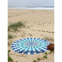 Peacock Round Mandala Tapestry Wall Hanging Beach Throw Indian Roundie Yoga Mat #Handmade #Traditional #BeachThrowYogaMatTableCoverWallHanging