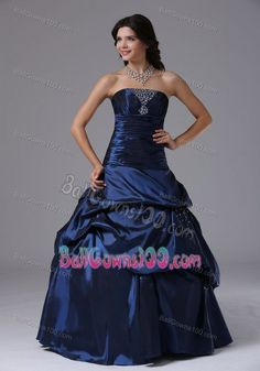 c70fce013e1 Beaded Ruching Navy Blue Military Ball Dresses with Pick-ups Inexpensive  Homecoming Dresses