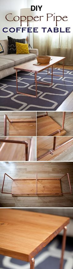 DIY Copper Pipe Coffee Table / Make this beautiful minimalist DIY coffee table with a touch of industrial style. Just use some copper pipe and a wooden board.