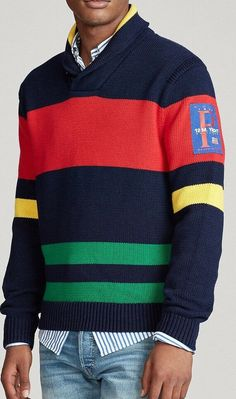 Beautiful Polo Ralph Lauren Men's Striped Cotton Shawl Sweater - Size M polo sweater from top store Cashmere Sweater Men, Polo Sweater, Men Sweater, M Photos, M Color, Shawl, Polo Ralph Lauren, Store, Cotton