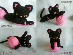 Love this little black cat! Gato Crochet, Crochet Cat Pattern, Easy Crochet Patterns, Crochet Patterns Amigurumi, Crochet Dolls, Crochet Yarn, Knitting Patterns, Cat Amigurumi, Crochet Bookmarks