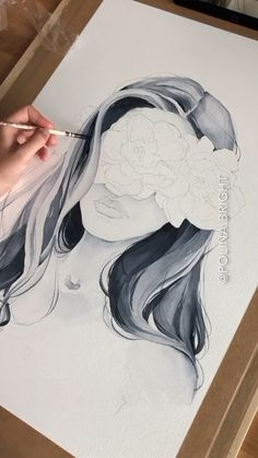 Painting hair by Polina Bright - . Painting hair by Polina Pencil Art Drawings, Art Drawings Sketches, Drawing Faces, Drawing Hair, Drawing Drawing, Realistic Drawings, Doodle Drawings, Drawing Ideas, Inspiration Art