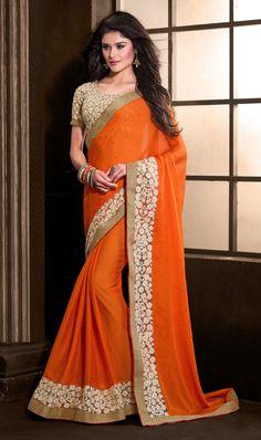 Orange Chiffon Designer Saree