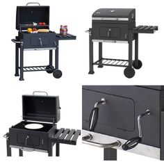 BBQ Trolley Adjustable Grill Barbecue Outdoor  Garden Chrome Warm Rack & Lid