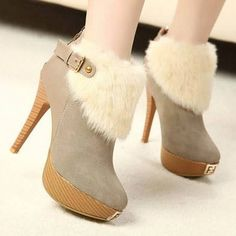 New arrival Europe cool belt buckle fashion furry elegant platform ankle boots