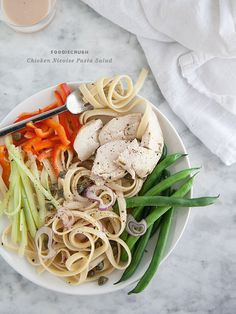 Chicken Niçoise Pasta Salad - replace pasta with spaghetti squash or zucchini ribbons for a #paleo version