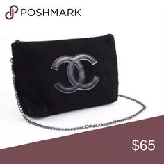 Chanel Precision Crossbody Clutch Purse VIP gift Beauty bag from Chanel Makeup. Soft Black velour material. Features Chanel zipper logo, and Chanel precision tag. Removable chain strap allows bag to be carried as clutch. Comes new in original packaging. Measures 11L x 7H inches CHANEL Makeup Brushes & Tools