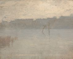 """""""Grey Day on the River,"""" William Langson Lathrop, oil on masonite, 16 x 19 3/4"""", private collection."""