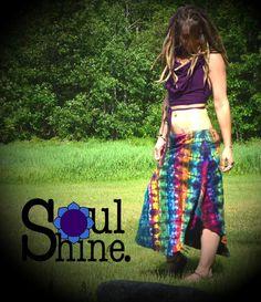 Rainbow Chaser Tie Dye SKIRT Boho Hippie Flower by SoulShineMaine #tiedye #soulshinemaine #soulshine #rainbow #warrior #goddess