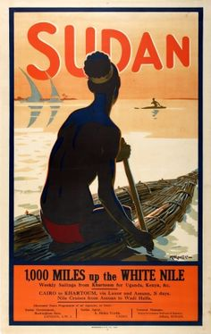 Sudan 1000 Miles White Nile, 1920s - original vintage poster by R T Roussel listed on AntikBar.co.uk