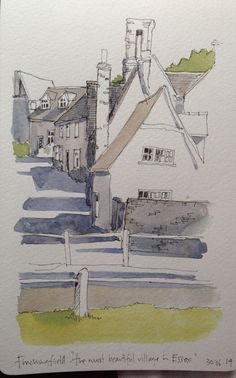 Art journal, urban art, sketchbook, travel diary. A sketch of 'the prettiest village in Essex' -Finchingdale.