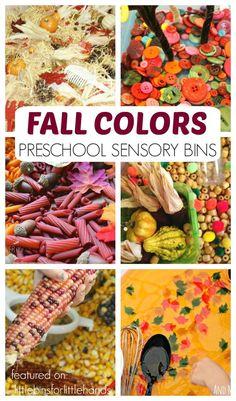 Preschool Fall Sensory Bins Play with Fall Colors