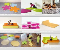 PLAY+ furnitures for children - mats. Reggio furniture/play objects transforming spaces.