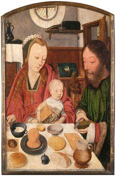 Jacob Jansz (active in Haarlem, c. 1483 – 1509): The Holy Family at Table, c. 1495 – 1500. Oak, 45.5 x 32 cm. WRM 0471. Photo: Rheinisches Bildarchiv Köln
