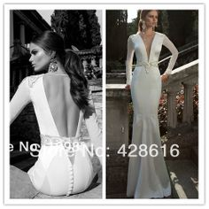2014 Ivory Long Sleeve Exquisite Jewel Beaded Plunging V-neck Sexy Floor-length Satin Mermaid Wedding Dress