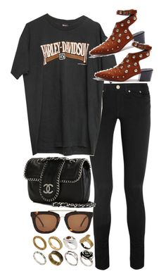 """""""Untitled #10430"""" by nikka-phillips ❤ liked on Polyvore featuring Acne Studios, Harley-Davidson, Chanel, Kaibosh and ASOS"""