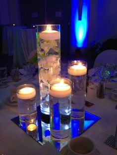 Floating candle centerpiece but with only 3 and no flowers, and pink water
