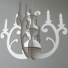 White Eco Chandelier - Cardboard Chandelier, Eco Friendly Decor, Chandelier Decor, Modern Chandelier, Silhouette Chandelier