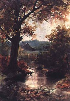 """My friend Melanie introduced me to the Jim Gray Gallery in Gatlinburg.  I am hooked!  This painting is much more vibrant in person... """"Autumn Reflections"""" by Jim Gray..."""