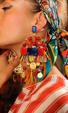 Festive tone with these earrings from Docle and Gabbana's runway collection. #ss13