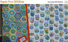 Owl crib quilt, owl beight colors, gender neutral crub, midern Geometric hexagon ceib quilt Check out this item in my Etsy shop https://www.etsy.com/listing/277877916/owl-crib-girl-theme-cot-toddler-woodland