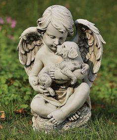 Roman Cherub & Puppy Garden Statue   zulily