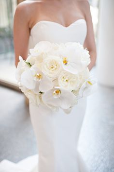 Orchid and Peony bouquet, cascading bouquet white bouquet