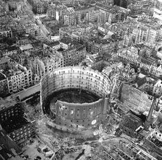 Berlin in 1945 - Excellent aerial view showing devastation and bombed out buildings over wide area.