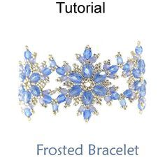 Beaded Frosted Snowflake Bracelet Downloadable Beading Pattern Tutorial by Cara Landry with Simple Bead Patterns   Simple Bead Patterns