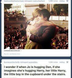 I don't know why, but that just made me cry ;3 Imagine hugging someone who played the part that you wrote about. Someone living your imagination♥ Its just *-*