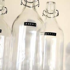 Bottles from IKEA with Dymo labels.