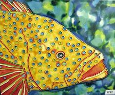 Yellow Dotted Fish Decorative Ceramic Wall Art Tile 6x6 by CCTC. $25.00. Use in a backsplash. Vibrant colors that will never fade. Hang on the wall with the attached hook. Raised Relief Wall Art. Back corking can be removed for wall installation. Beautiful High Gloss Raised-Relief, Hand-Painted Tile.  Each Tile has a cork back and hanger. Great as a coaster or wall hanging.  These tiles look great in a kitchen, bath, or even a child's room. Great Gift Item!