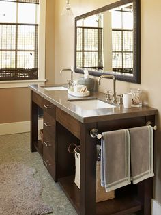 Added Features Can Maximize Storage in a Small Bath Minimize clutter on bath walls by attaching a towel rod to the side of a freestanding vanity For an extra dash of pana. Bathroom Renos, Bathroom Interior, Home Interior, Master Bathroom, Design Bathroom, Bathroom Ideas, Bathroom Modern, Small Bathrooms, Interior Design