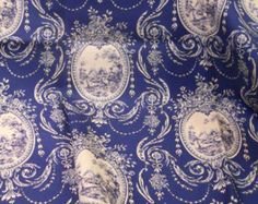 Navy Blue & White Medallion Print Toile Fabric, French Country, Yardage